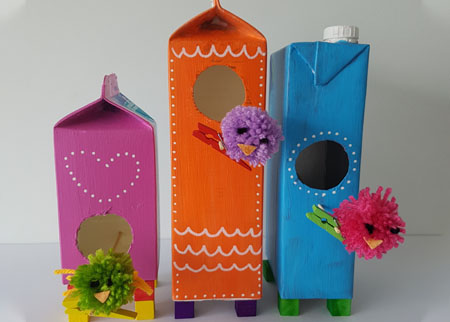Small bird houses from milk cartons