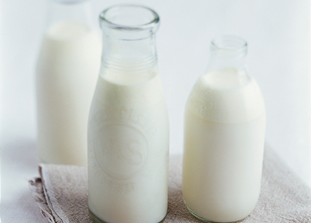 Glass bottles of milk