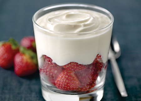 Yoghurt pot with strawberries