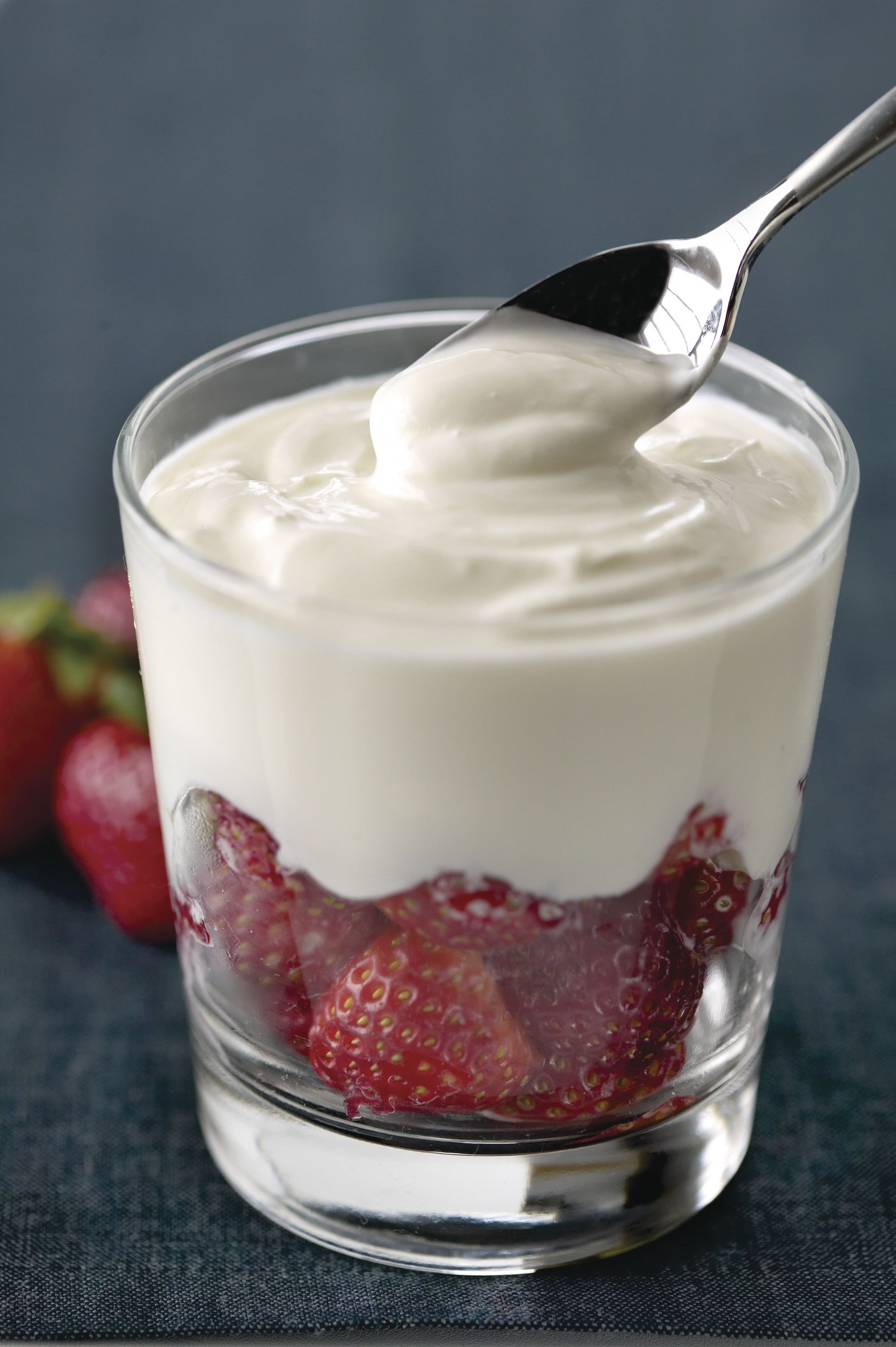 Glass of strawberries and cream